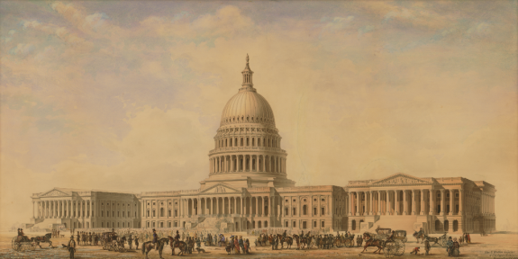 A color painting of the Capitol of the United States, with a large crowd of people, horses, and street cars in front of it.