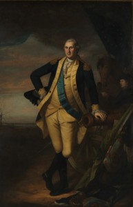 A portrait of George Washington, standing, painted by Charles Willson Peale