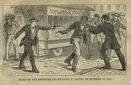 A drawing of a man pointing a gun at another man in the middle of a street.