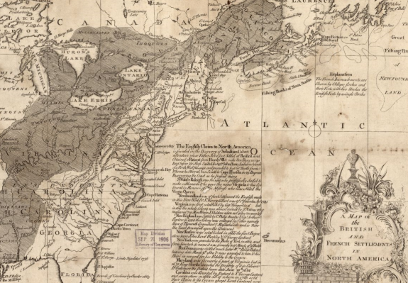 A black and white map of North America. Colonies and some prominent cities are labeled. Shaded parts of the map represent territory claimed by France.