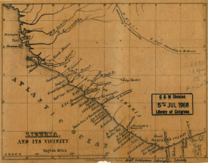 A map of the Liberian coast, showing the names of cities and separate sections of the colony.