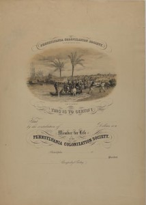 A paper certificate for the Pennsylvania Colonization Society with a small image of people getting off boats on a beach.