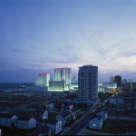 A view of Atlantic City with the Showboat and Taj Mahal casinos visible.