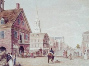 Grellet came to Philadelphia in the 1790s, an era portrayed in a series of prints by William Birch. This view depicts Second and Market Streets, looking north. (Library of Congress)