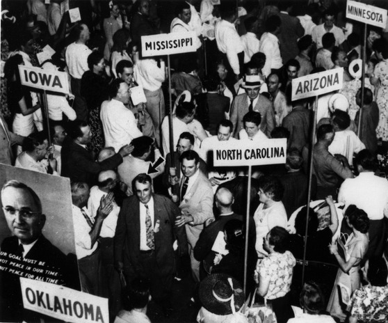 "Convention floor of the 1948 Democratic Convention, which nominated Harry S. Truman for president and sparked a walkout by southern ""Dixiecrats."" (Harry S. Truman Presidential Library)"