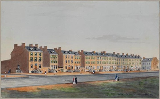 A color painting of a series of row homes along a street. People in dresses and coats are walking along outside the buildings.