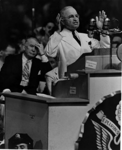President Truman speaks to the Democratic National Convention in Philadelphia on July 15, 1945. (Harry S. Truman Presidential Library)