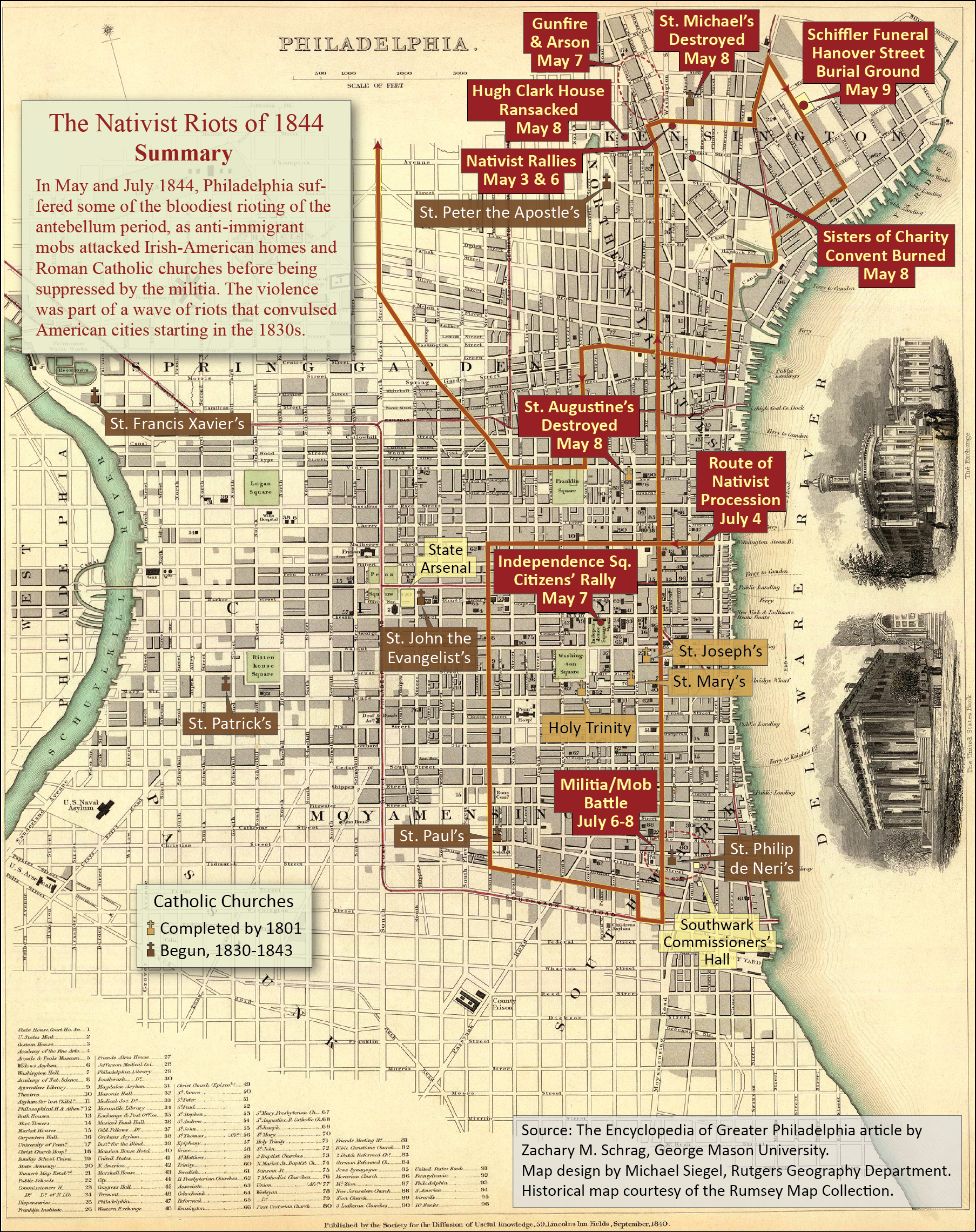 Nativist Riots Of Encyclopedia Of Greater Philadelphia - Map of us before and after the riots