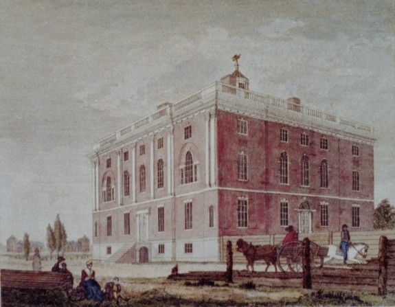 Engraving depicting brick mansion built for the President of the United States.