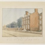 watercolor painting of the president's house as it would have looked in the 1790s
