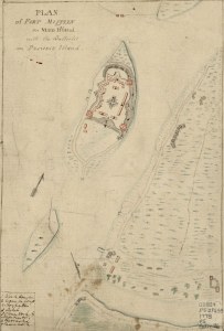 A color photograph of a hand drawn map of an fort on an island.