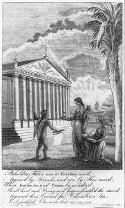 An engraving of an allegorical scene of Roman figures in front of a temple with thirteen columns.
