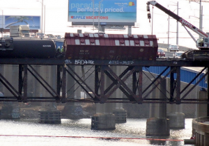 Train derailment on the 120-year-old Arsenal Bridge in 2014.