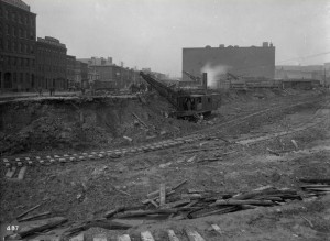 The Philadelphia and Reading Railroad constructing new track in 1893 at Broad and Callowhill Streets.