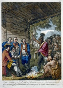 A color engraving of Native Americans talking to Colonel Henry Bouquet