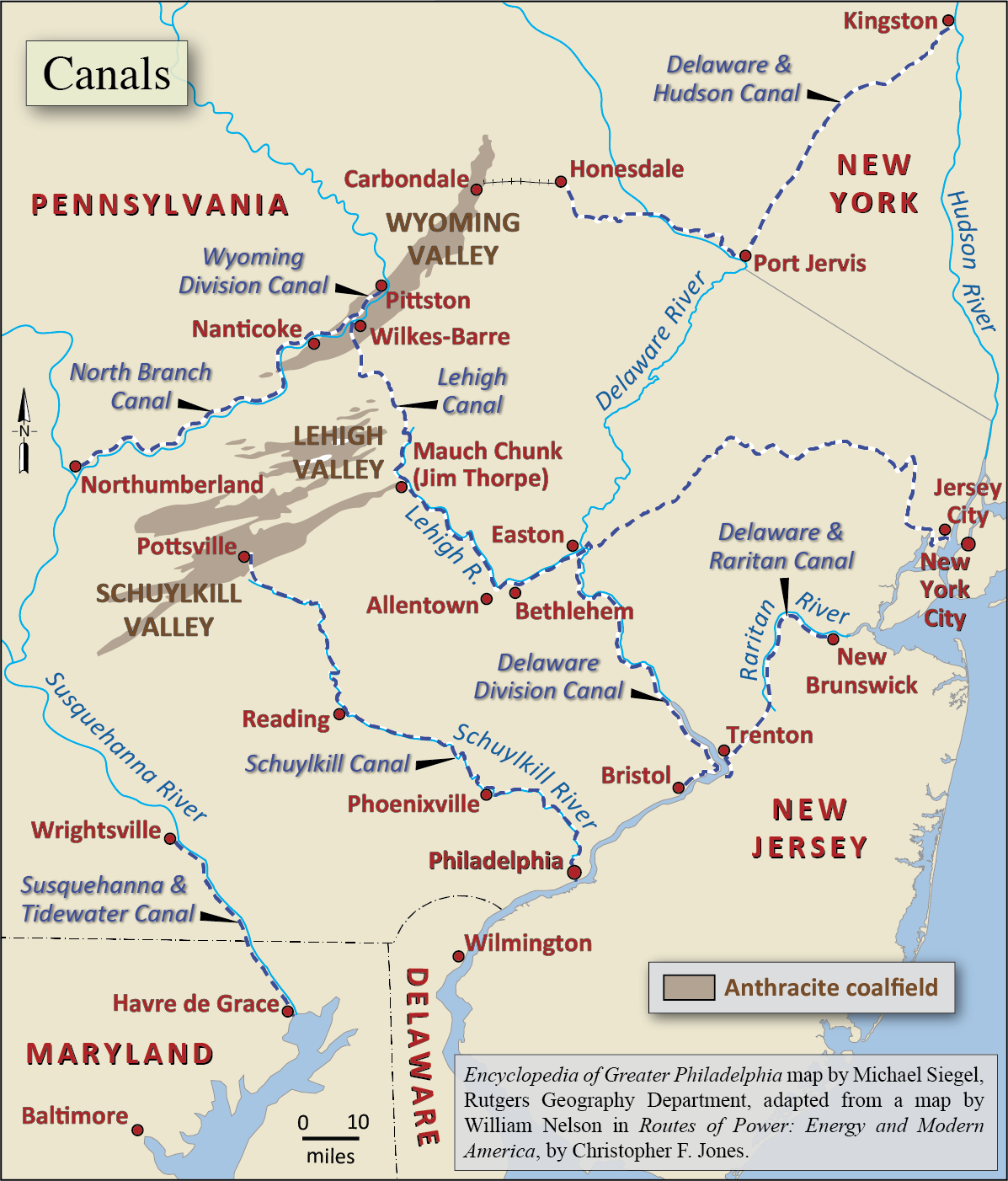 Canals Encyclopedia Of Greater Philadelphia - Delaware cities map