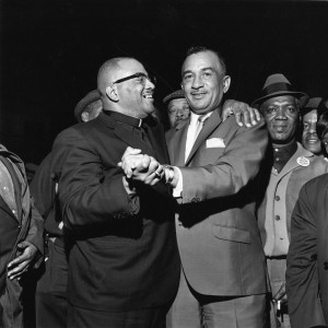 Cecil B. Moore and Reverend Henry H. Nichols celebrate the 1965 NAACP elections