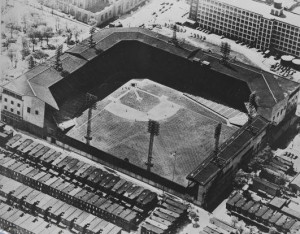 An aerial view of Shibe Park, later renamed Connie Mack Stadium, located at Twenty-FIrst and Lehigh Avenue.