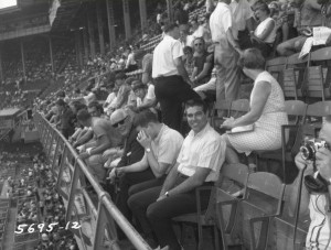 Fans at a 1967 Phillies game watch from an upper deck at Connie Mack Stadium, formerly known as Shibe Park.