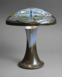 The Fulper Pottery Company of Flemington, New Jersey integrated glass and ceramic elements in this glazed ceramic lamp (The Metropolitan Museum of Art)