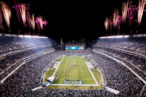 View of Lincoln Financial Field during a game.
