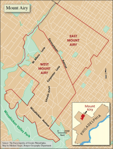 map showing Mount Airy location within Philadelphia, and larger map with West Mount Airy and East Mount Airy