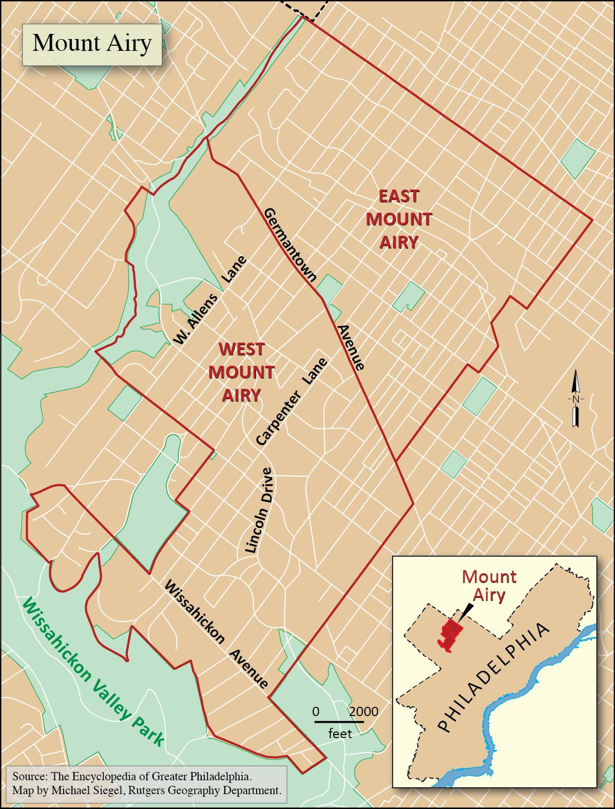 map of germantown philadelphia Encyclopedia Of Greater Philadelphia Mount Airy West And East map of germantown philadelphia