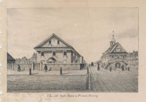 An 1830 engraving of the Friends Meeting House and Old Court House at Market and Second Streets.