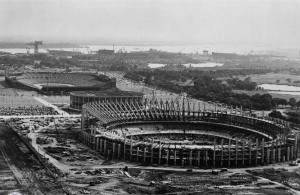 Veterans Stadium under construction in 1969 with the Spectrum arena and Municipal Stadium in the background.