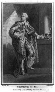 A black and white engraving of King George III in ermine capes.