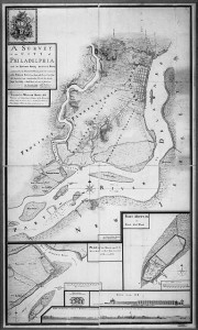 A 1777 Hessian map of the fortifications on the Delaware river, with Mud Island (Fort Mifflin) and Red Bank (Fort Mercer) inset
