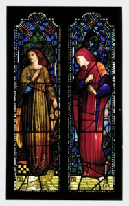 These stained glass panels by William and Ann Lee Willet possess the gothic-revival style popularized by the Pre-Raphaelite artists working in England (Corning Museum of Glass)