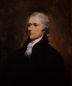 A color portrait of US Secretary of the Treasury Alexander Hamilton by John Trumbull