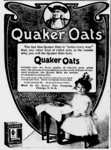 The Quaker image found advertising uses in the nineteenth and early twentieth centuries. (New-York Tribune, Chronicling America Newspapers, Library of Congress)