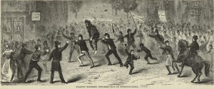 an 1880 illustration of Whiskey Rebels parading a tarred and feathered tax collector through town on a rail