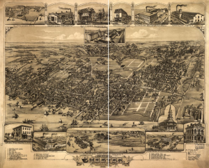 A sepia-tone birds eye map of the City of Chester with important buildings enlarged in the upper and lower margins