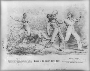 an 1850 lithograph of four African American men being ambushed by six armed caucasian men in a cornfield