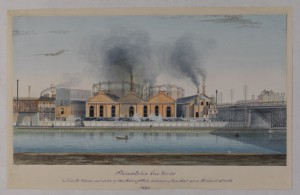 The original coal fired Philadelphia Gas Works plant was built on the Schuylkill River betwene Market and Filbert Streets in 1835 using private funds. The city took control of the works in 1841. (Historical Society of Pennsylvania)