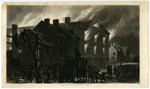 Despite the huge crowd, the attack on Pennsylvania Hall was remarkably calm. Most of the crowd only watched the blaze and prevented firefighters from extinguishing it. (Library Company of Philadelphia)