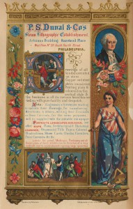 A color lithograph showing elegant designs surrounding figures of a woman dressed in patriotic colors, George Washington, and other figures surrounding text advertising a company.