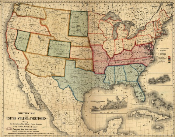 A color map of the united states with different color outlines and shading around different states. There are labels visible throughout the map.