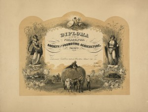 A 1860 diploma from the Philadelphia Society for Promoting Agriculture.