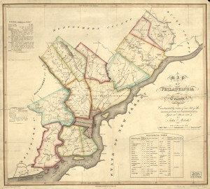 A color map of Philadelphia county, with colored lines outlining different neighborhoods. A box of statistics is compliments the other labels on the map.