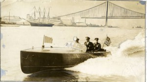 Police testing a new speedboat in 1925.