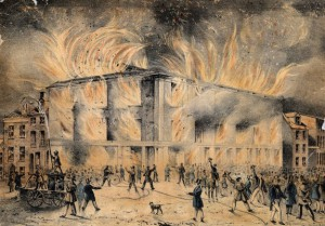 In this dramatic illustration of the burning of Pennsylvania Hall, firefighters douse nearby buildings but do not attempt to extinguish the blaze. (Library Company of Philadelphia)