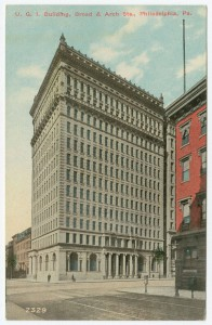 a postcard illustration of a white 12-story office building located at Broad and Arch Streets