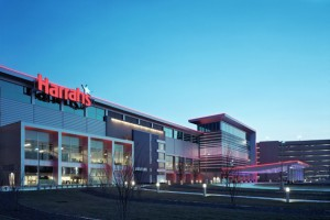 The facade of a modern casino building with red signage reading