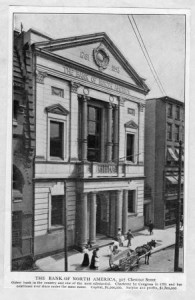 Vintage photograph of The Bank of North America building, taken in 1900.