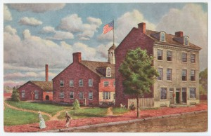 "Color post card showing three buildings making up ""Ye Olde Mint,"" the first U.S. Mint building, painting by Edin Lamasure."