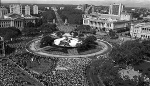 Aerial view of the papal altar on October 3, 1979.